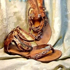 Zigi Soho Ankle Bracelet Sandals orange and tan